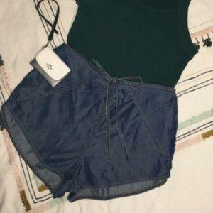 Splendid Wrap Tie-able Shorts High Waisted Sz S